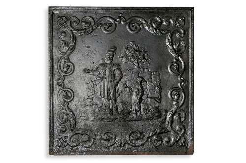 Plaque de cheminée en fonte à l'image d'un milita…