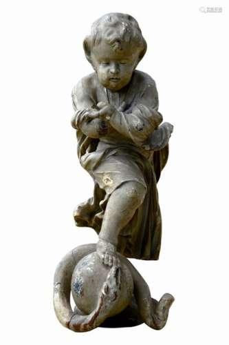 Jésus enfant. Statue en bois peint, il est présent…