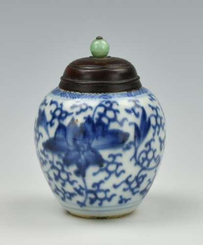 Small Chinese Blue & White Jar and Cover,18th C..