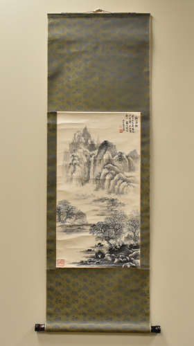 Chinese Ink on Scroll Landscape Painting