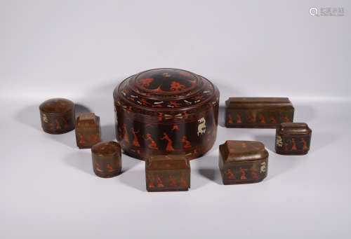 A Set of Chinese Lacquer Make-Up Cases