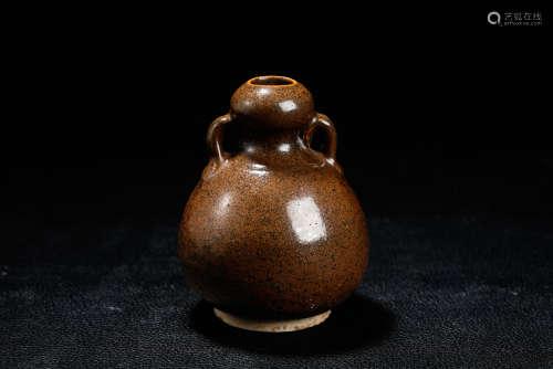 A Chinese Black Glazed Porcelain Double Gourd Vase