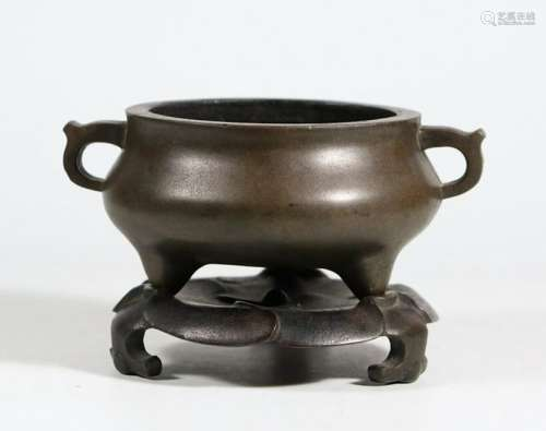 CHINESE BRONZE TRIPOD CENSER W/ STAND AND MARK