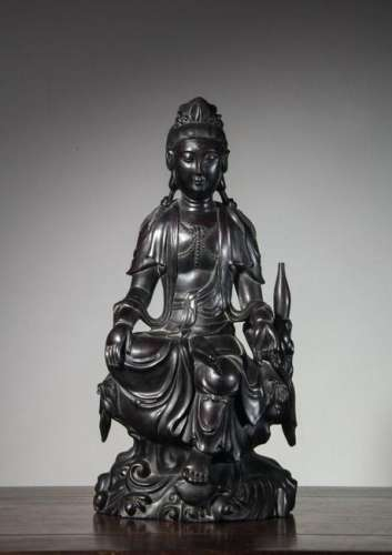 CHINESE HARDWOOD CARVED SEATED GUANYIN