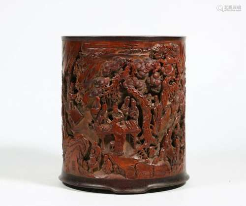 CHINESE LANDSCAPE SCENE BAMBOO BRUSH POT