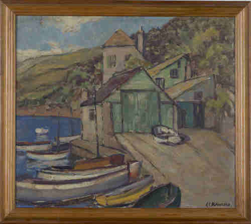 Ethel Louise Rawlins - Boats, Boathouse and Quay, 20th century oil on board, signed, 34.5cm x 39.