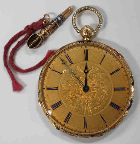 A gold and enamel cased keywind open-faced lady's fob watch, the gilt cylinder movement detailed '