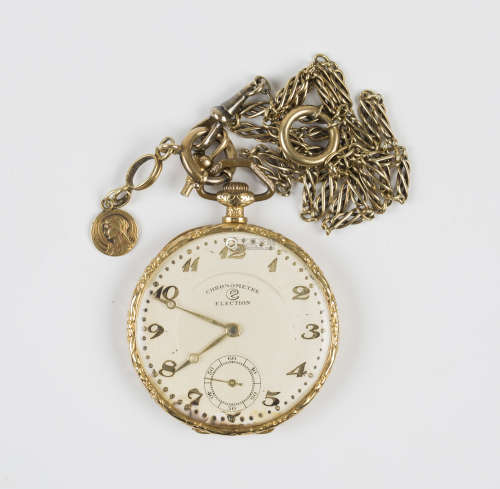 An Election gold cased and enamelled keyless wind open-faced dress watch with a signed jewelled
