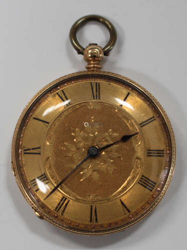 A gold cased keywind open-faced lady's fob watch, the gilt cylinder movement detailed 'Muret