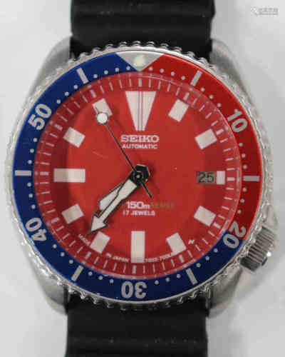 A Seiko Automatic Diver's wristwatch, the signed red dial with date-of-the-month aperture, white