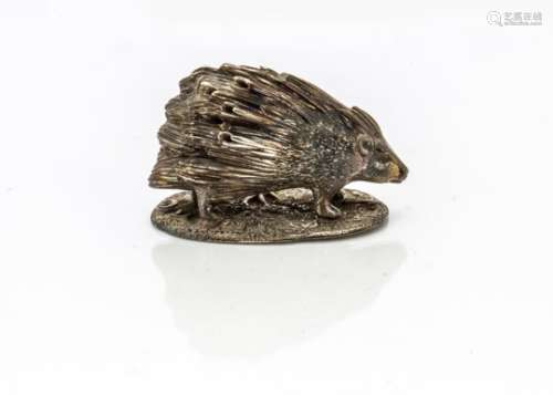 A 1960s silver model of a porcupine, Edinburgh 1968, by B&S, 4.2 ozt, 8cm wide