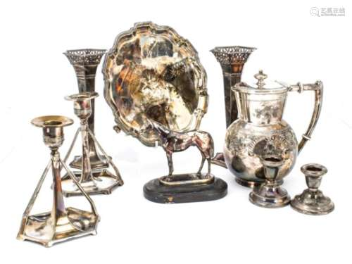 A small collection of silver and silver plate, including a pair of silver filled trumpet vases, a