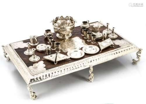 A miniature Queen Anne style Britannia silver and oak banquet table, together with a collection of