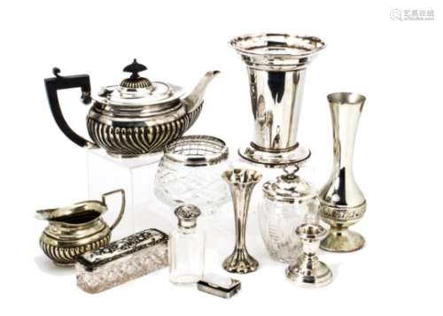 A small group of silver and silver plated items, including a Victorian silver vesta case, an Art