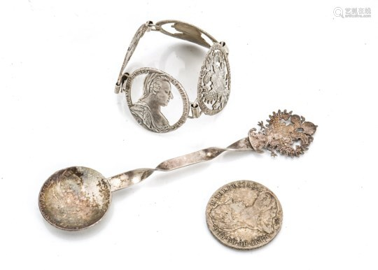 A vintage Maria Theresa thaler coin bracelet, together with a spoon created from a Maria Theresa