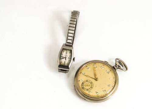 A 1930s Omega stainless steel cased lady's wristwatch, appears to run, on later strap, together with