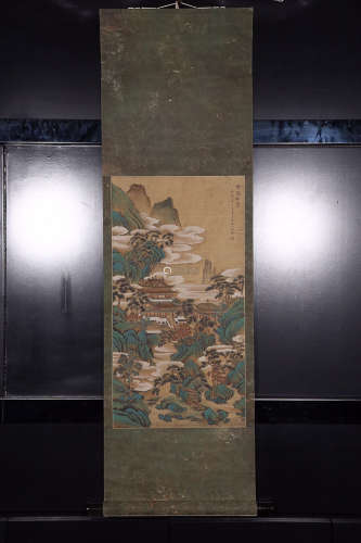 ZHAOBOJU' MARK SILK SCROLL PAINTING