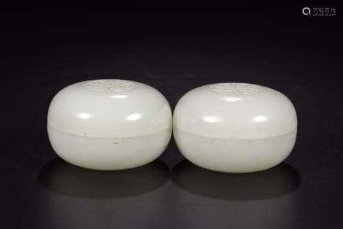 HETIAN JADE SEAL BOX IN PAIR