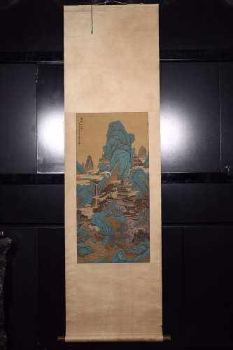 QIANXUAN' MARK SILK SCROLL PAINTING