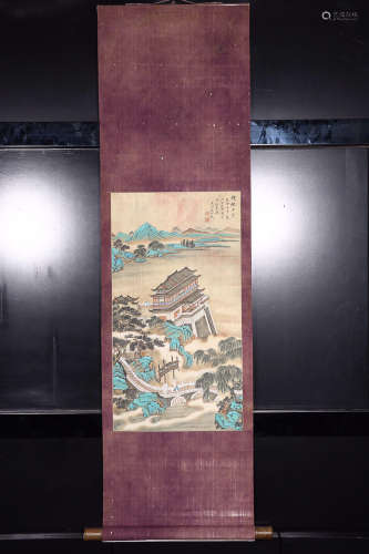 DONGBANGDA' MARK SILK SCROLL PAINTING
