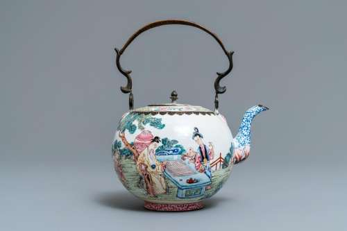 A Chinese Canton enamel kettle with figures in a