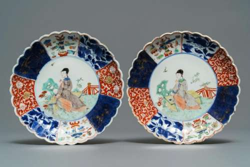 A pair of Chinese verte-Imari plates with a lady in a