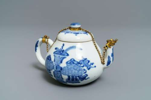 A Chinese blue and white gilt brass-mounted teapot,