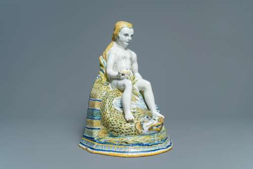 A large polychrome Brussels faience 'Amphitrite'