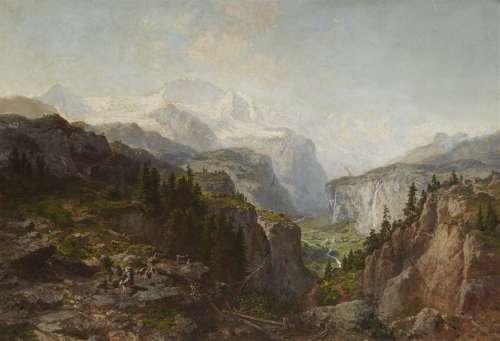 Joseph Bütler, Alpine Landscape with a Village in …