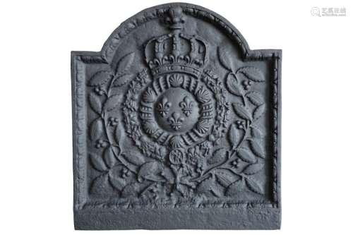 Plaque de cheminée en fonte aux armes de France av…
