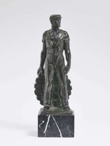 SteelworkerErnst Seger (1868 Neurode - 1939 Berlin) Bronze, patinated. On marble base. On the