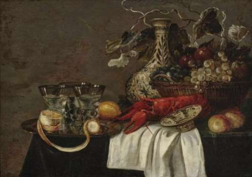 Monogrammist JH, 17th centuryStill Life with Lobster, Fruits and Glasses Monogrammed lower left ''