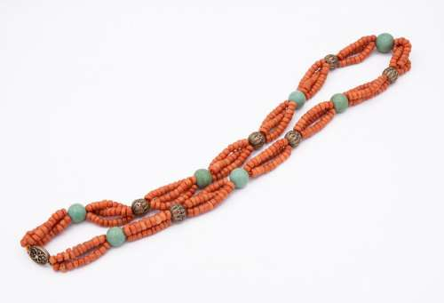 A Magnificent Orange Coral Turquoise and Silver Ne…