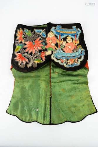 A late 19th century Chinese lady's silk hat with decorative embroidery on paper appliques, depicting