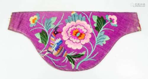 A 19th century Chinese silk embroidered waist pouch, embroidered with a peacock and peonies