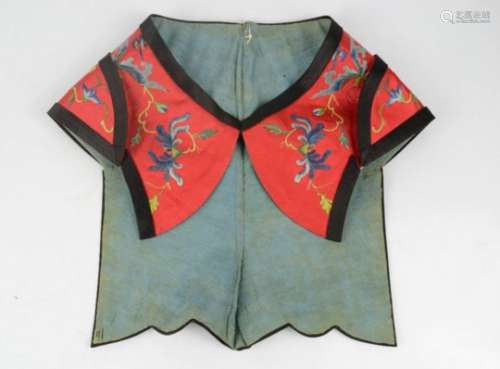 A 19th century finely embroidered Chinese lady's silk hat, circa 1875, in satin stitch with tiny