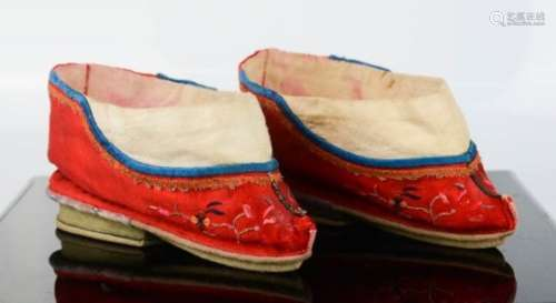A late 19th century Chinese pair of lotus shoes for a wedding. [Provenance: Exhibited at the McClung