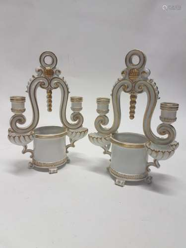 Porcelaine de Paris Paire de bougeoirs en céramiqu…