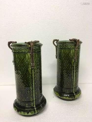 SARREGUEMINES Paire de vases tubulaires en céramiq…