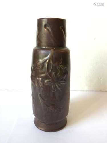 Travail Art Nouveau Vase à col tubulaire à épaulem…