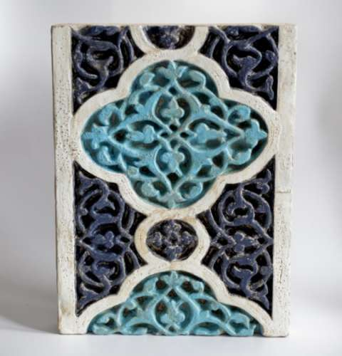 A RARE LATE 14TH / EARLY 15TH CENTURY ISLAMIC TIMURID CARVED POTTERY TILE, The tile of rectangular