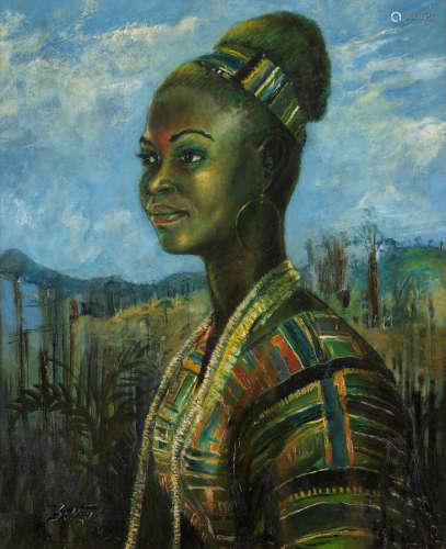 Portrait of Marianne  Benedict Chukwukadibia Enwonwu M.B.E(Nigerian, 1917-1994)