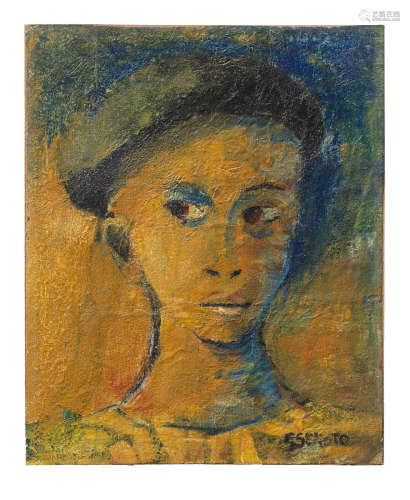 Portrait of a lady wearing a beret Gerard Sekoto(South African, 1913-1993)