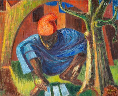 Seated man in red cap Jimoh Akolo(Nigerian, born 1934)