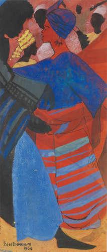 Woman in blue and red Benedict Chukwukadibia Enwonwu M.B.E(Nigerian, 1917-1994)