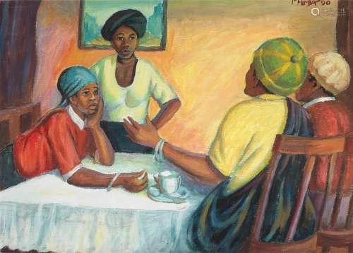 The Gossipers III George Milwa Mnyaluza Pemba(South African, 1912-2001)