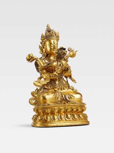 A GILT COPPER ALLOY FIGURE OF VAJRADHARA AND PRAJNAPARAMITA   QING DYNASTY, 18TH/19TH CENTURY