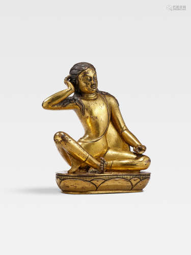 A GILT COPPER ALLOY FIGURE OF MILAREPA  MONGOLIA, ZANABAZAR SCHOOL, 18TH CENTURY