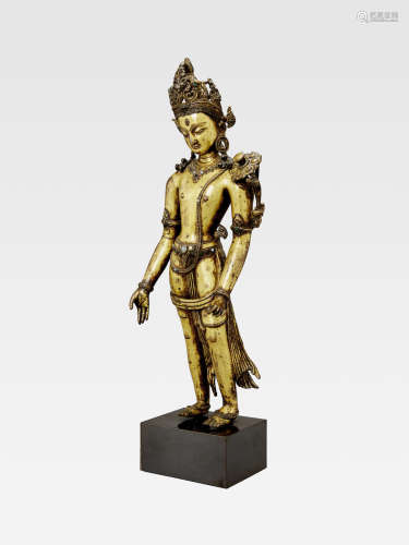 A GILT COPPER ALLOY FIGURE OF PADMAPANI LOKESHVARA  NEPAL, 13TH/14TH CENTURY