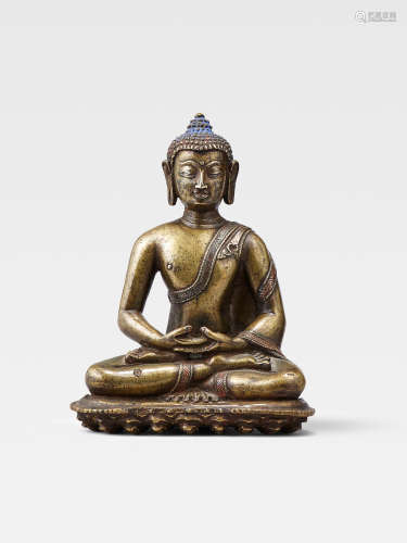A SILVER AND COPPER INLAID COPPER ALLOY FIGURE OF AMITABHA  NORTHEASTERN INDIA, PALA PERIOD, 12TH CENTURY